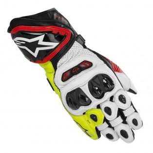 GP Tech Leather Glove Black/Red/Yellow Fluo