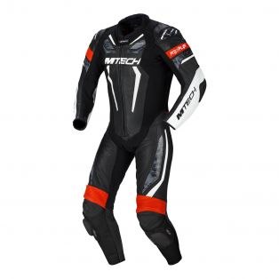 Halo motorcycle one piece suit Black/White/Neon Red
