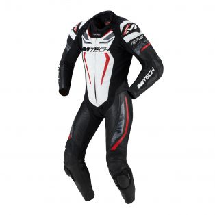 Halo motorcycle one piece suit White/Fluo Red/Black