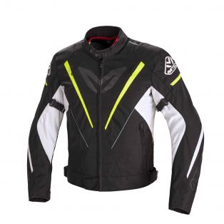 Fuel Motorcycle jacket Black/Fluo Yellow/White