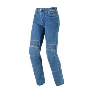 STEEL MOTORCYCLE PANTS Light blue washed