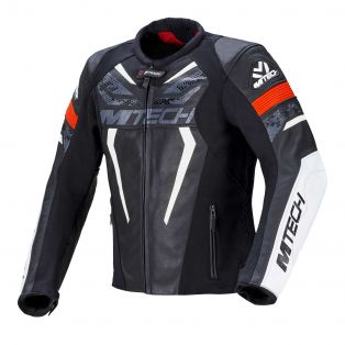 Halo leather motorcycle jacket Black/White/Neon Red