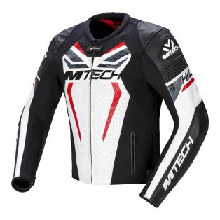Halo leather motorcycle jacket Perforated White/Black/Fluo Re