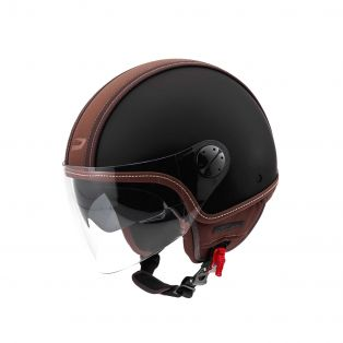 HP2.71 jet helmet with leather band Black/Brown