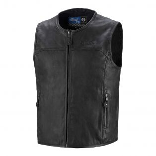 Classic leather motorcycle vest Black