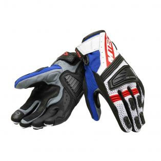 Lightning women's motorcycle gloves White/Blue/Red